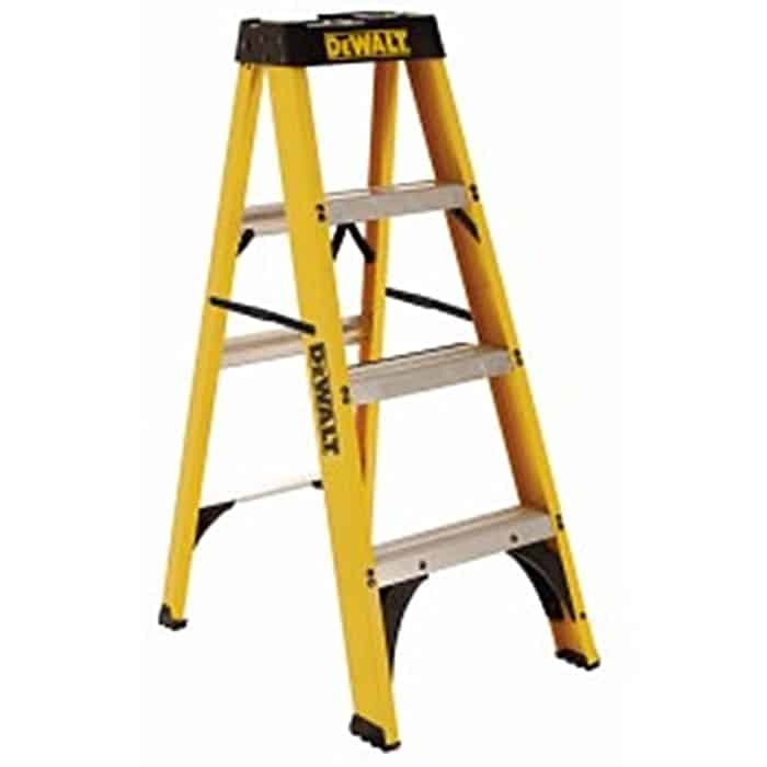 Fiberglass step ladder with durable top with magnet and tool slots.