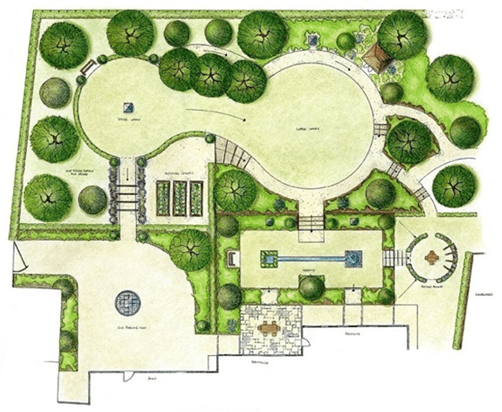 How to create a landscape design blueprint for your yard final layout of the beautiful landscape blueprint malvernweather Image collections