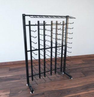 A metal wine rack.