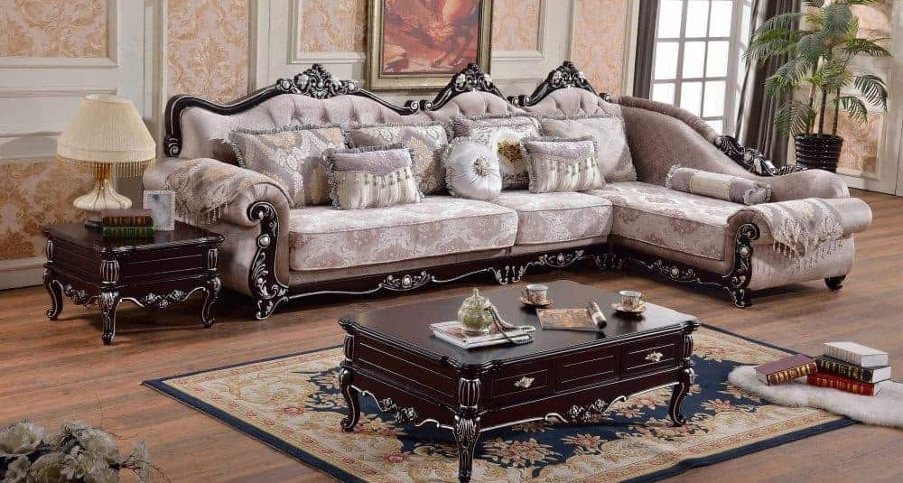 3 piece sectional sofa with hand-carved solid hardwood frame and polyester fabric upholstery.