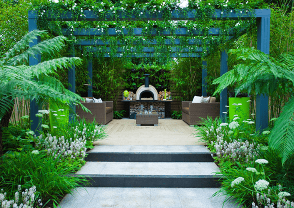 Landscape design with a seating area as a focal point.