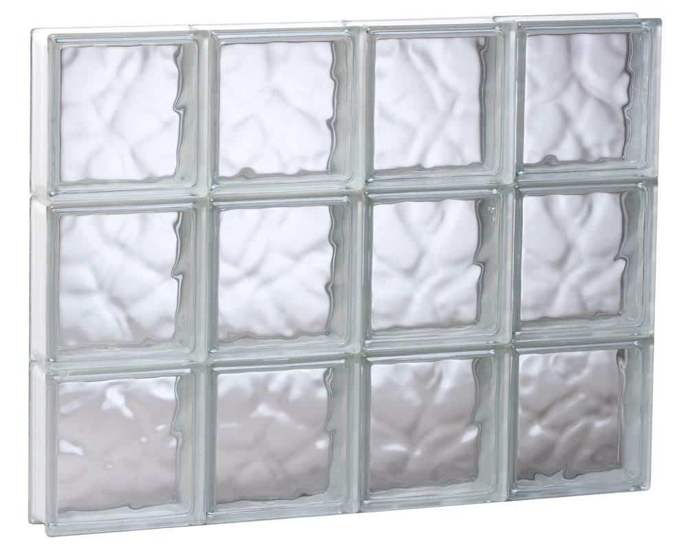 Frameless, wave pattern glass block window that increases privacy and security.