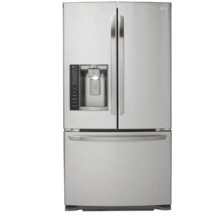 Stainless steel refrigerator with a french door and a children's lock.