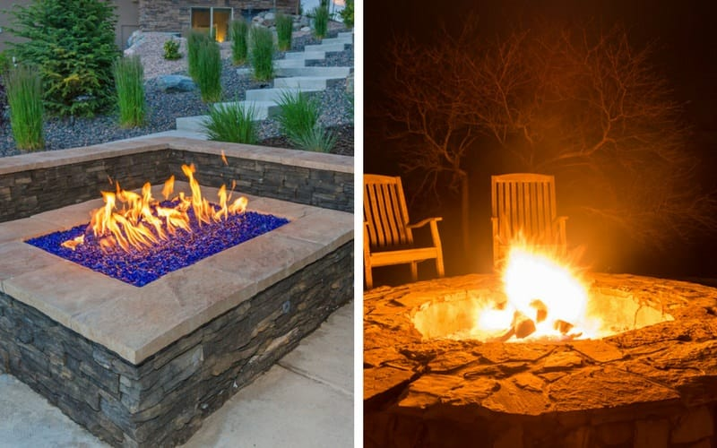 Picture of gas and wood fire pits