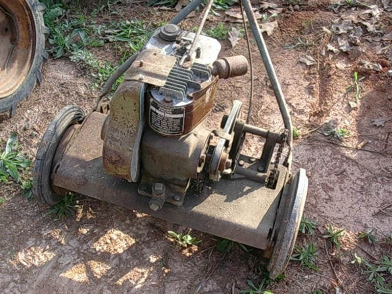 Old gas powered lawnmower.