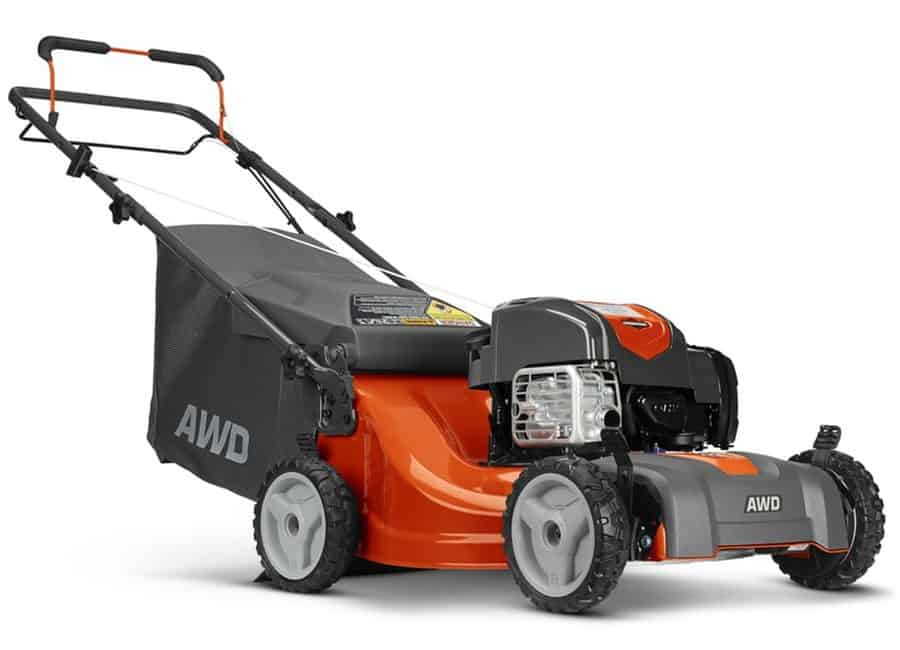 Self-propelled all wheel drive gas lawn mower with briggs and stratton engine.
