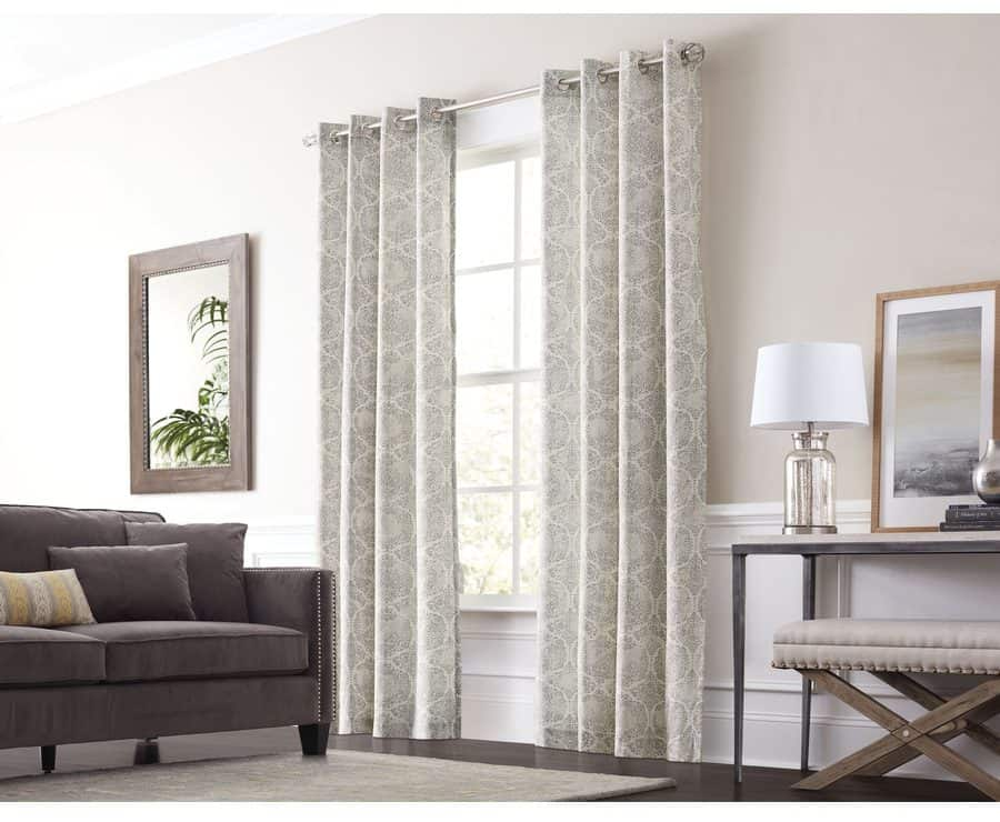Gray cotton, single-panel curtain with a graphite finish.