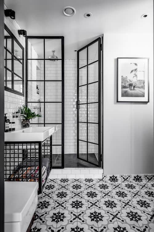 Gray and black bathroom