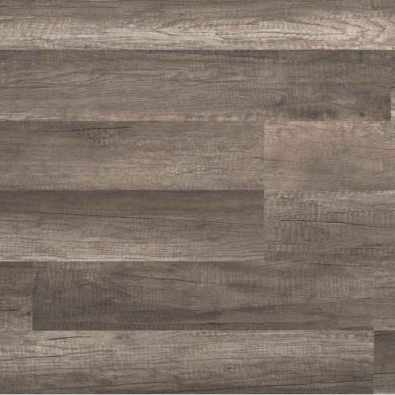 Laminate flooring in a gray oak finish.