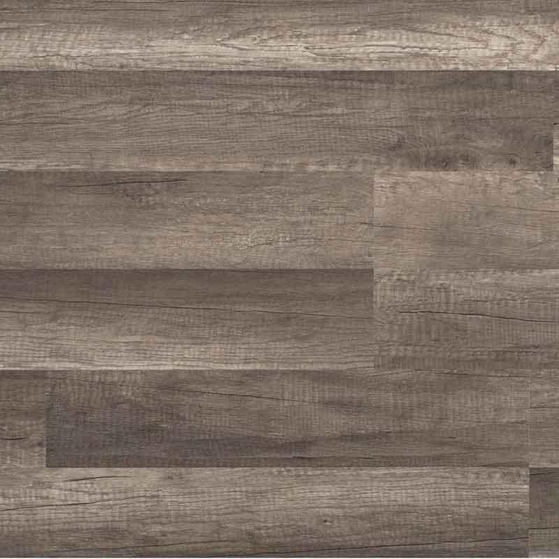 Laminate flooring in a gray oak finish.