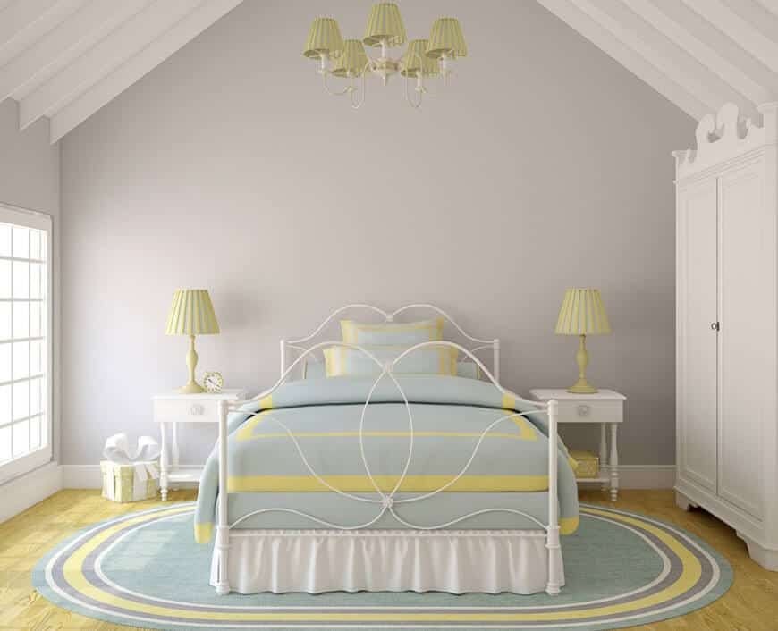 Gray and pastel bedroom