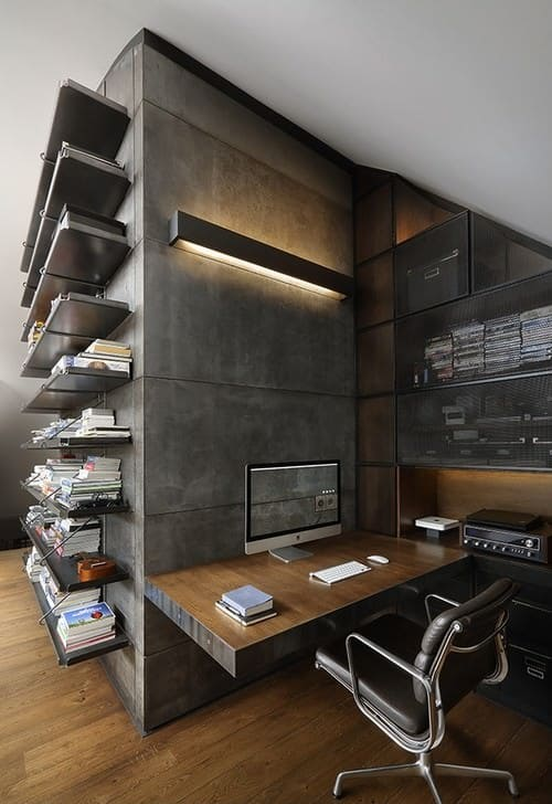 Small gray home office.