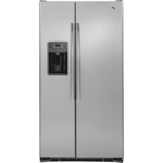 Dark Gray, stainless steel refrigerator with ice maker and LED lighting.
