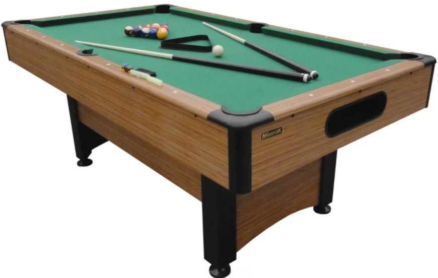 Pool table made out of green nylon and manufactured wood with an auto-ball return feature.