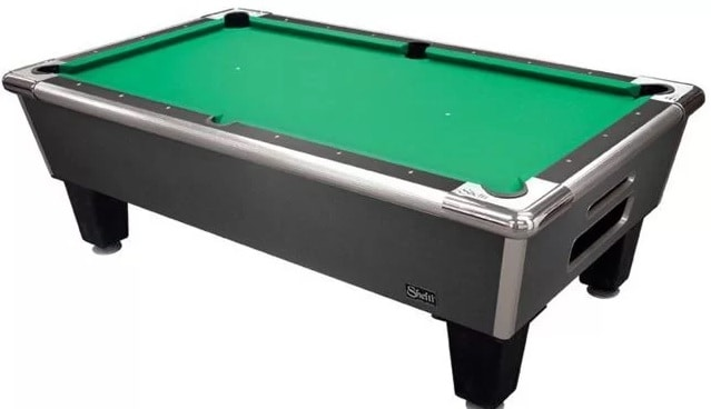 Pool table with green worsted wool.