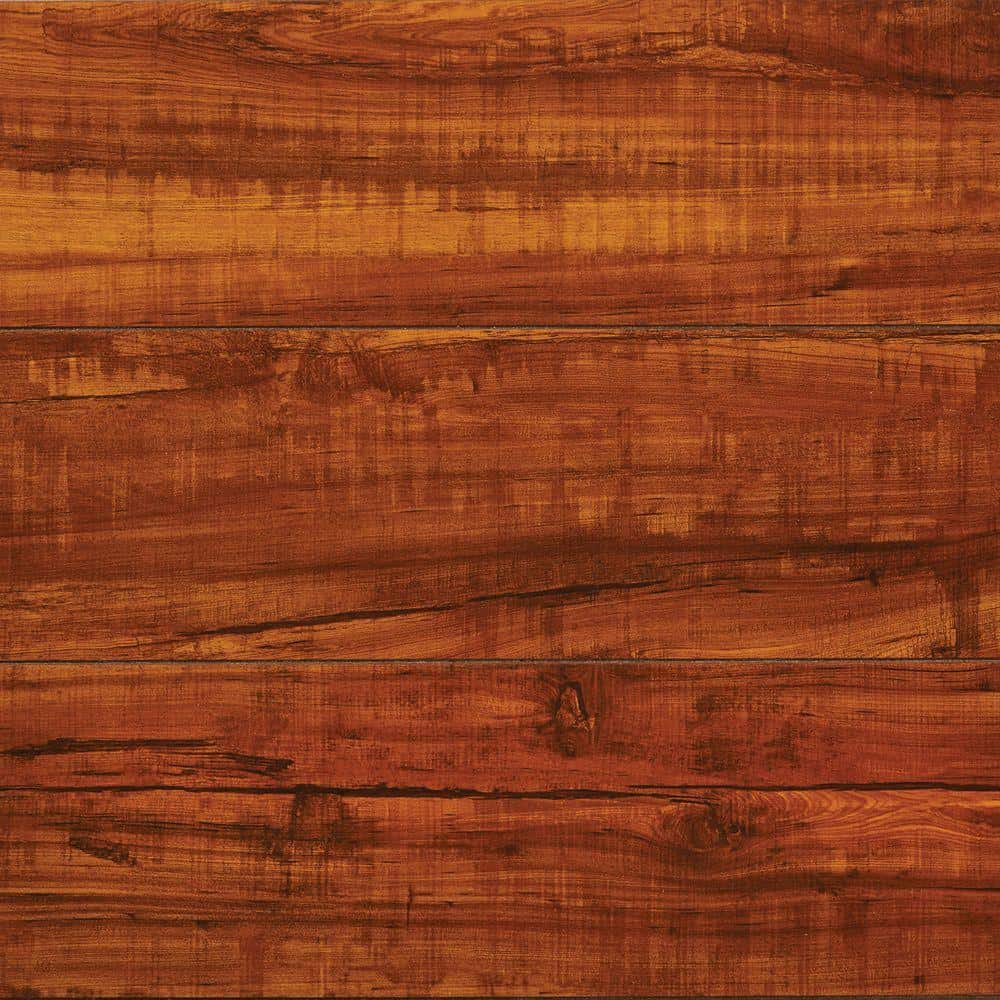 Classic hickory wood grain flooringwith a glossy finish.