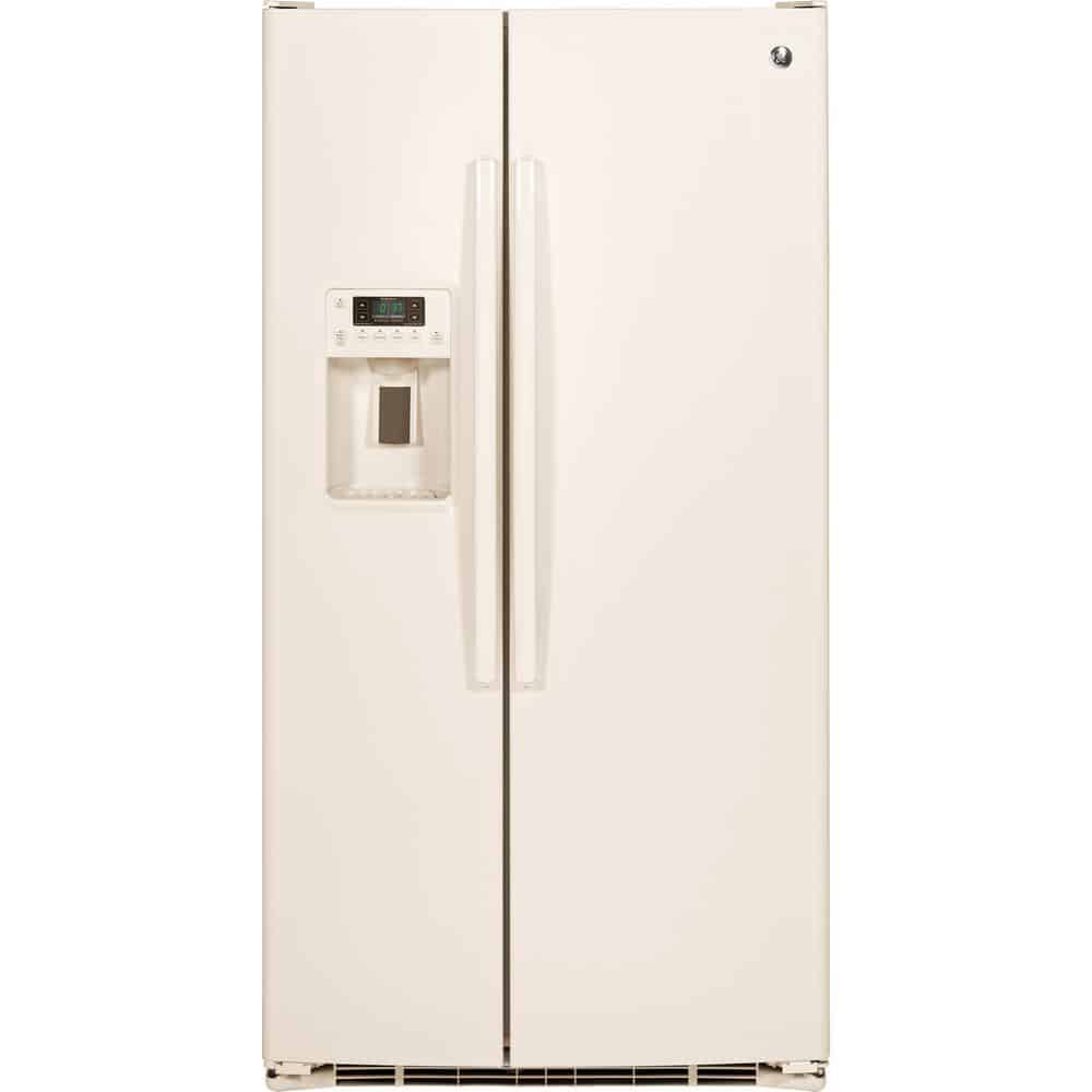 Glossy bisque refrigerator with a flat back design.