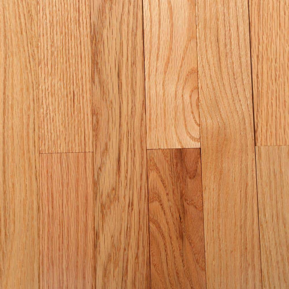 Natural red oak flooring with a glossy finish.