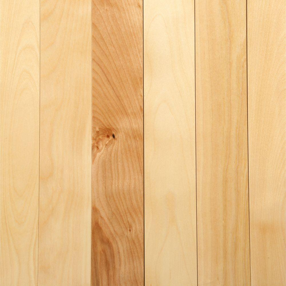 Hardwood flooring in a natural, pale honey tone.