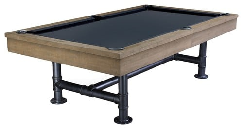 Industrial pool table with a weathered oak finish.