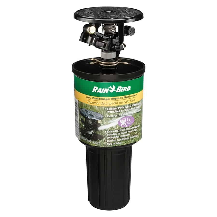 Plastic pop-up spray head sprinkler with low gallonage impact rotor sprinkler.