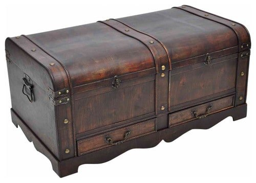 Large, wooden treasure chest with a vintage finish.