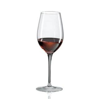 This Zinfandel glass with a large rim is handcrafted to perfection.