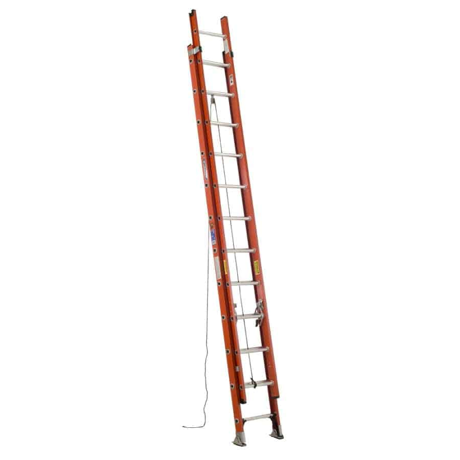 24-ft fiberglass extension ladder with SHU-LOK and slip-resistant pad for stability.