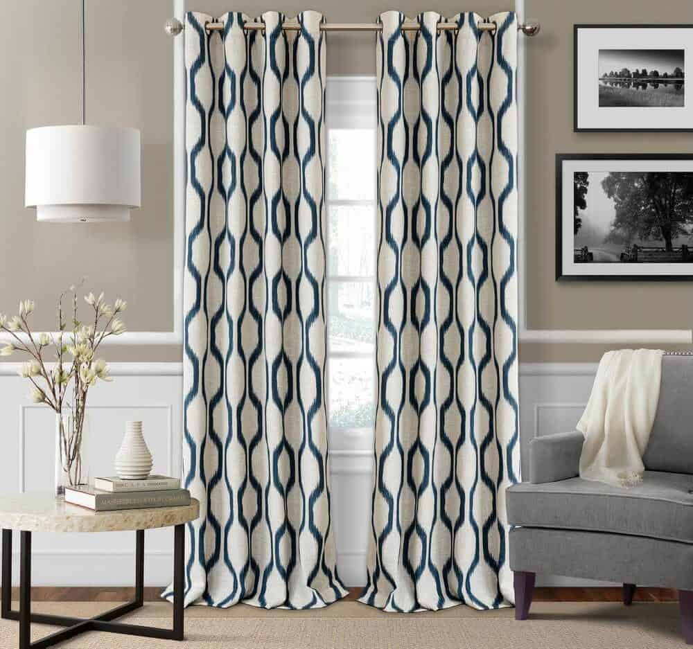 Window curtain with heavy-weight linen fabric and blue printed patterns.