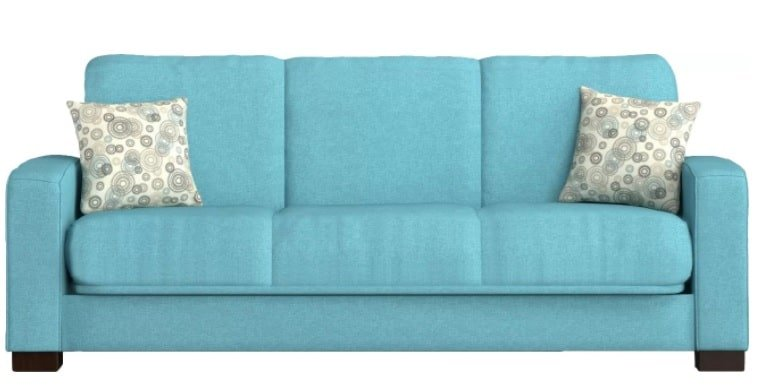 Blue convertible sofa made out of microfiber and pinewood frames.