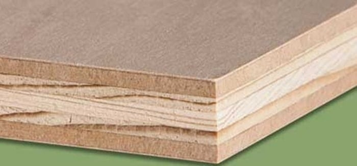 Lumber core is made out of two thin veneers on each side and a thick core.