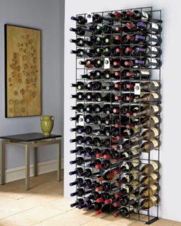 Wall-mounted wine rack.