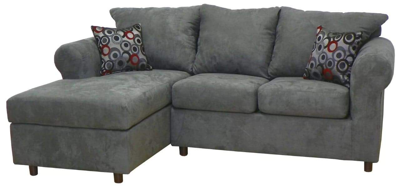 Sectional sofa with removable seat cushion and sinuous springs seat construction.