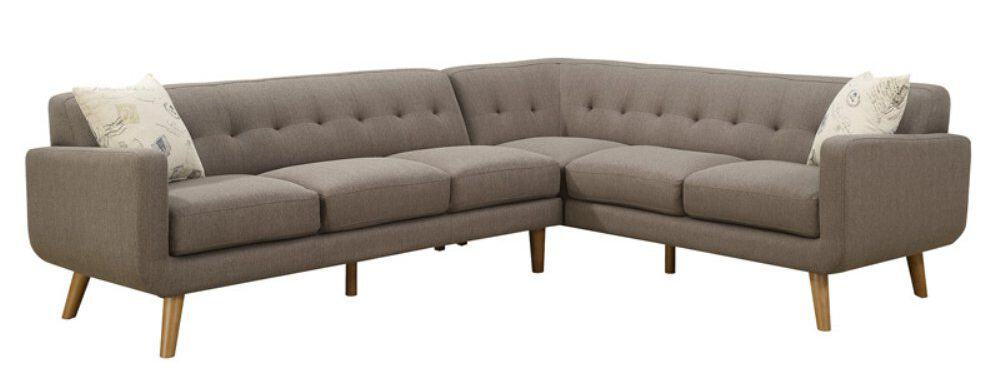 2 piece sectional sofa with solid plywood frame and smooth fabric upholstery.