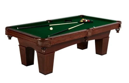 Pool table in a mid-century style with manufactured wood as frame.