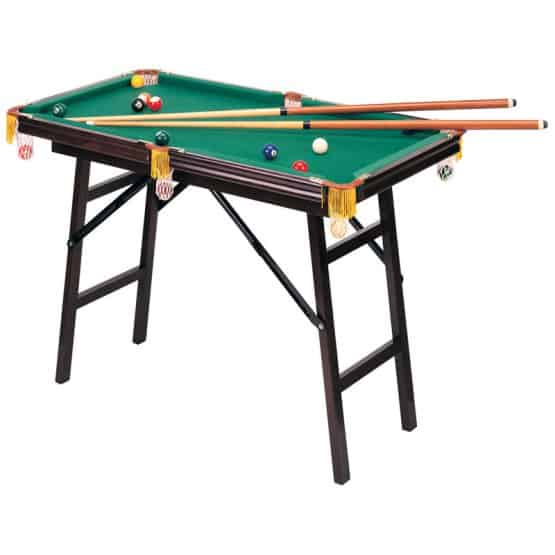 Mini pool table with foldable legs.