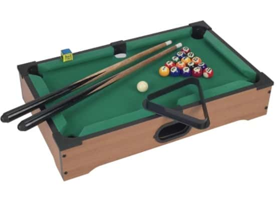 Mini-sized and lightweight, table top pool table.