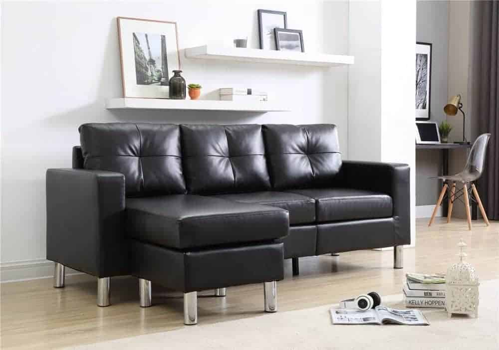 Small space convertible sectional sofa with wood and metal construction.