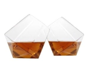 A modern type of bar glass in a unique, diamond cut.