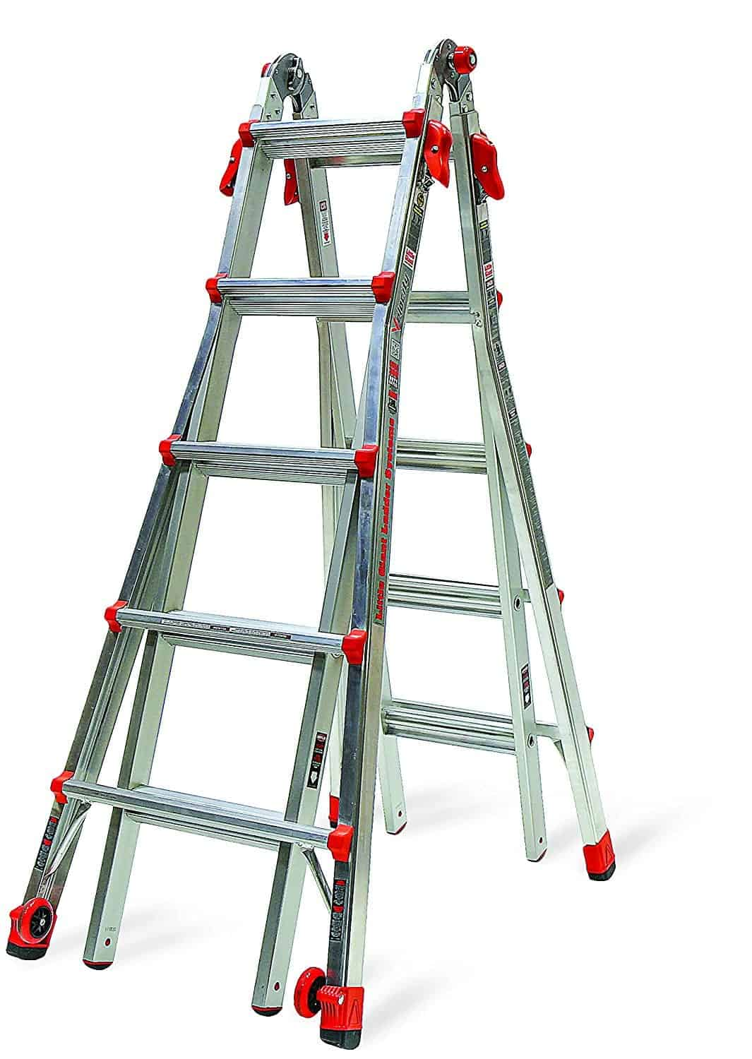 22-foot velocity multi-use ladder with dual pin hinge and wide flared legs.