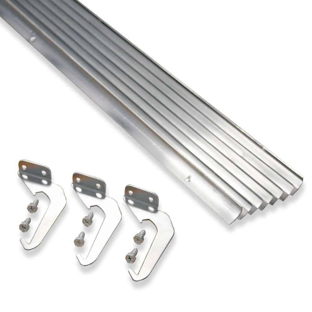A complete set of natural aluminum rainfall gutters.
