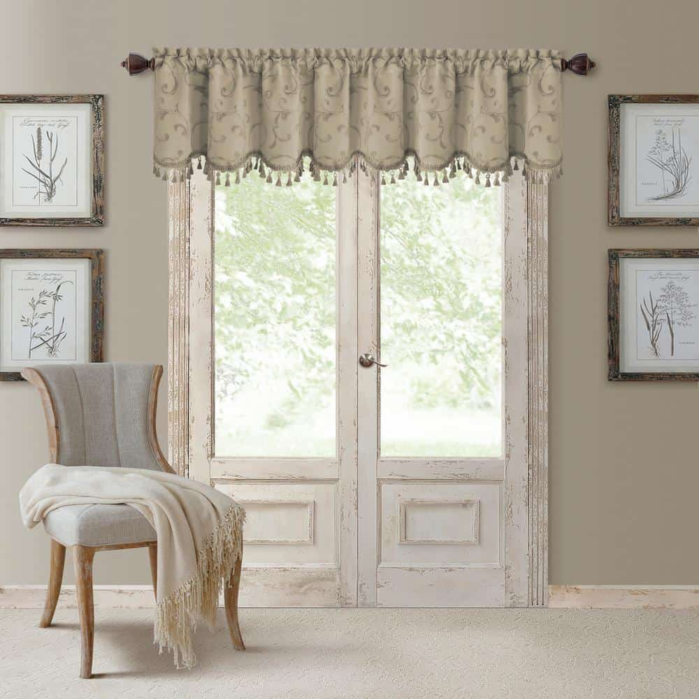 Woven curtain valance in a natural color.