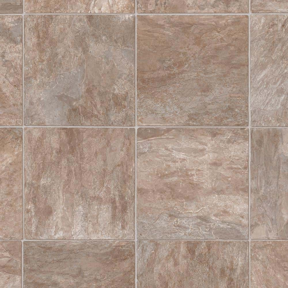 Vinyl in neautral tones that provides a stone and marble design.