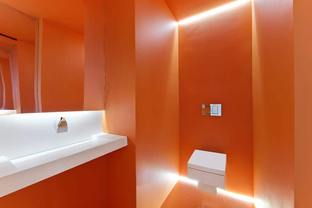 Orange contemporary bathroom