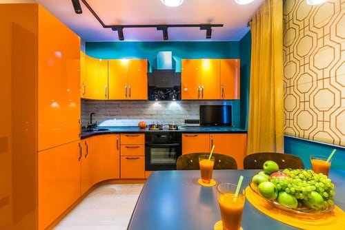 Orange and turquoise kitchen