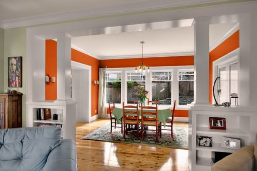 Orange and white dining room