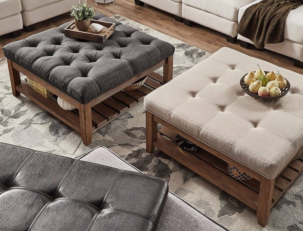 Ottomans serving as coffee tables in the living room.