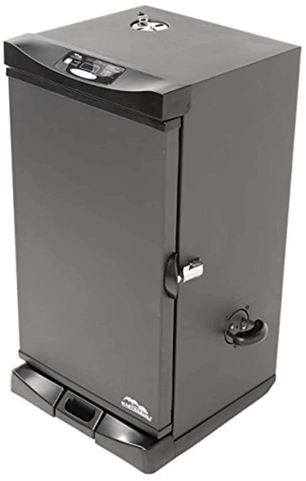 Electric digital smoker with front controller in black finish.