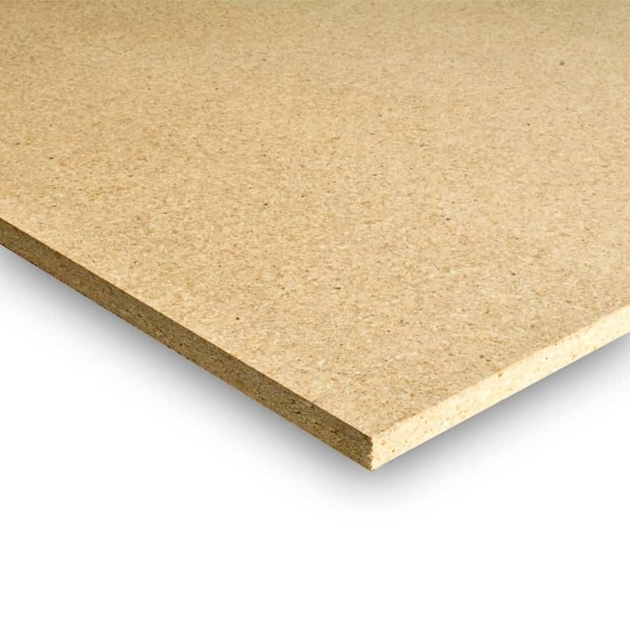 Particle board with excellent screw pull and strong internal bond for high adhesive performance.