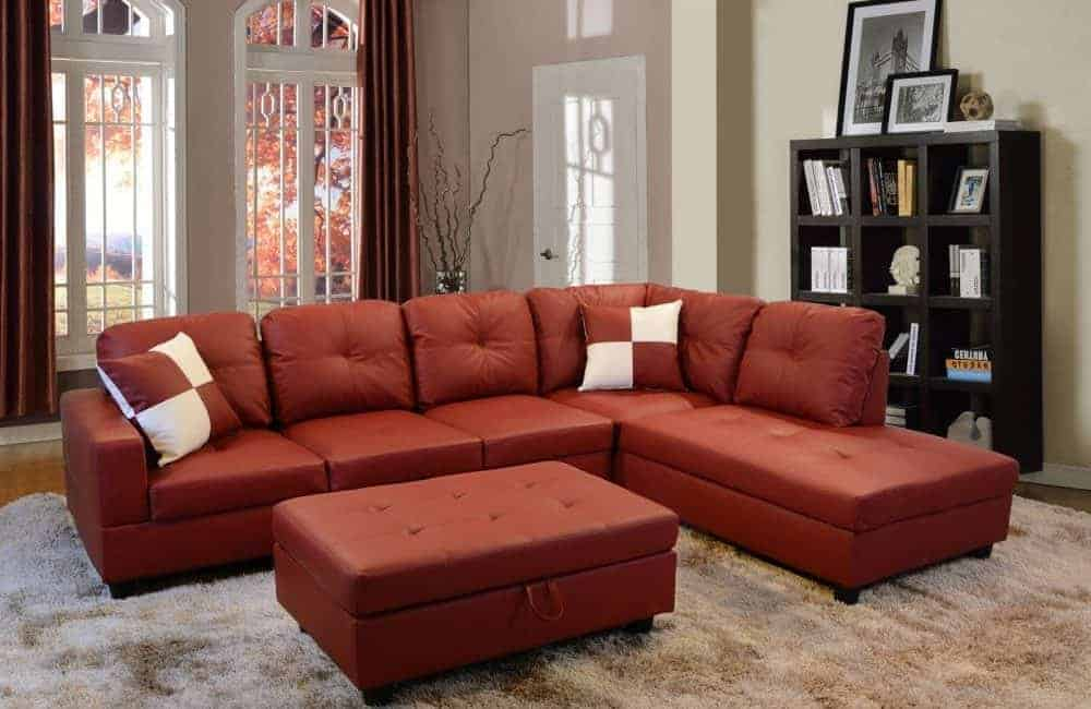 3-piece faux leather sectional sofa set with storage ottoman and foam cushion filler.